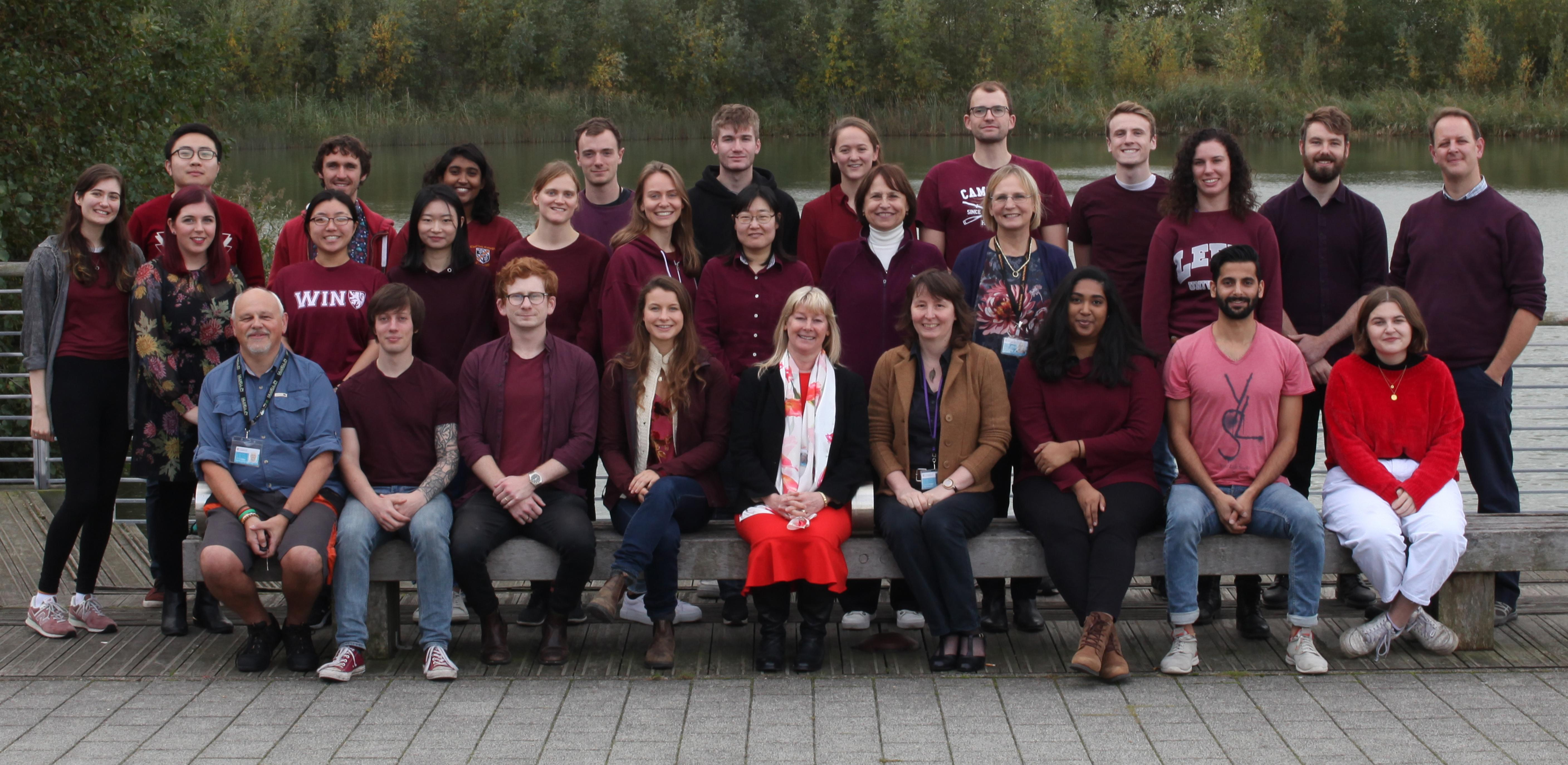 CCMM Group photograph taken in October 2019 outside the Department near to the lake